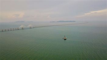 24km bridge connecting Penang to the mainland