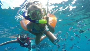 My big girl snorkeling!